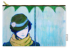 Woman With Green Umbrella Carry-all Pouch