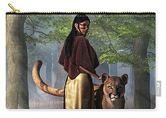 Carry-all Pouch featuring the digital art Woman With Mountain Lion by Daniel Eskridge