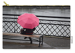 Woman With Pink Umbrella. Carry-all Pouch
