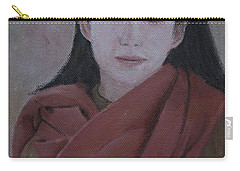 Woman With Scarf Carry-all Pouch