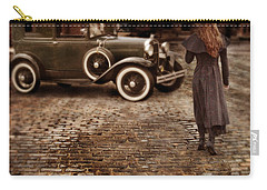 Woman With Umbrella By Vintage Car Carry-all Pouch