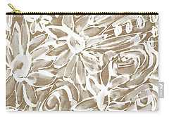 Wood And White Floral- Art By Linda Woods Carry-all Pouch by Linda Woods