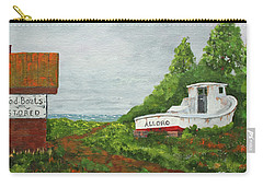 Carry-all Pouch featuring the painting Wood Boat Works by Jack G Brauer