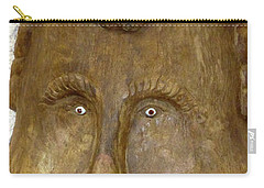 Carry-all Pouch featuring the photograph Wood Carved Face by Francesca Mackenney
