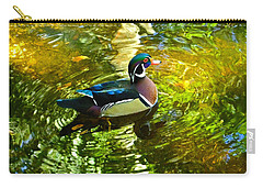 Wood Duck In Lights Carry-all Pouch by Judy Wanamaker