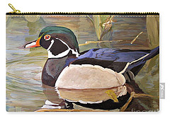 Wood Duck On Pond Carry-all Pouch by Laurie Rohner
