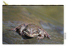 Carry-all Pouch featuring the photograph Wood Frog Close Up by Christina Rollo