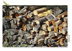 Carry-all Pouch featuring the photograph Wood Pile by Ann E Robson