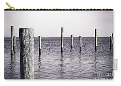 Carry-all Pouch featuring the photograph Wood Pilings In Monotone by Colleen Kammerer