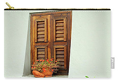 Carry-all Pouch featuring the photograph Wood Shuttered Window, Island Of Curacao by Kurt Van Wagner
