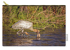 Carry-all Pouch featuring the photograph Wood Stork by Peter Lakomy