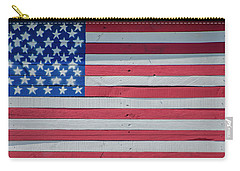 Carry-all Pouch featuring the photograph Wooden American Flag by Bill Cannon