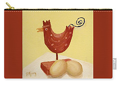Wooden Chicken And 2 Brown Eggs Carry-all Pouch