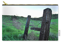 Carry-all Pouch featuring the photograph Wooden Gate In Field by Matt Harang