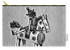 Carry-all Pouch featuring the digital art Wooden Horse by Pennie McCracken