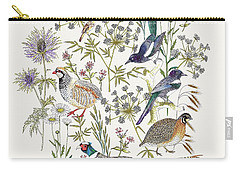 Woodland Edge Birds Placement Carry-all Pouch by Jacqueline Colley