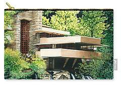 Carry-all Pouch featuring the painting Fallingwater-a Woodland Retreat By Frank Lloyd Wright by Barbara Jewell