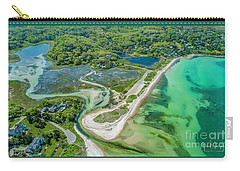 Carry-all Pouch featuring the photograph Woodneck Beach At 400 Feet by Michael Hughes