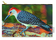 Woodpecker On A Log Carry-all Pouch