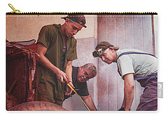 Carry-all Pouch featuring the photograph Working On Classic Cars Havana Cuba by Joan Carroll