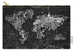 World Map Blueprint 2 Carry-all Pouch by Bekim Art