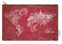 World Map Blueprint 3 Carry-all Pouch by Bekim Art