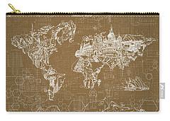 World Map Blueprint 4 Carry-all Pouch by Bekim Art