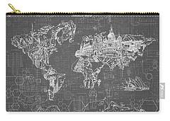 World Map Blueprint 5 Carry-all Pouch by Bekim Art