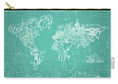 World Map Blueprint 7 Carry-all Pouch by Bekim Art