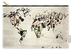 Carry-all Pouch featuring the digital art World Map Music 1 by Bekim Art