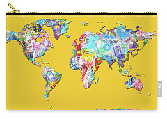 World Map Music 13 Carry-all Pouch by Bekim Art