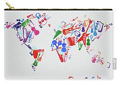 Carry-all Pouch featuring the digital art World Map Music 3 by Bekim Art