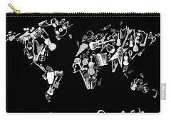 Carry-all Pouch featuring the digital art World Map Music 5 by Bekim Art