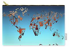 Carry-all Pouch featuring the digital art World Map Music 6 by Bekim Art