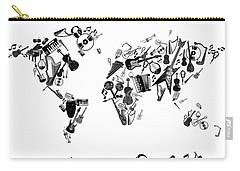 Carry-all Pouch featuring the digital art World Map Music 7 by Bekim Art