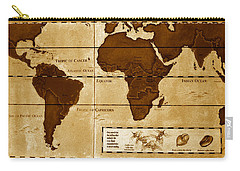 World Map Of Coffee Carry-all Pouch by David Lee Thompson