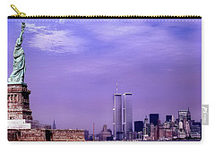 World Trade Center Twin Towers And The Statue Of Liberty  Carry-all Pouch