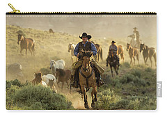 Wrangling The Horses At Sunrise At Absaroka Ranch, Wyoming Carry-all Pouch