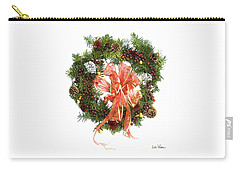 Wreath With Bow Carry-all Pouch by Lise Winne