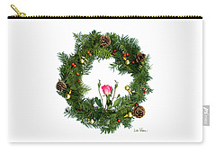 Wreath With Rose Carry-all Pouch by Lise Winne