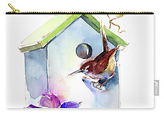 Wren With Birdhouse And Clematis Carry-all Pouch