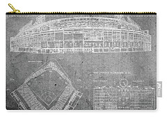 Wrigley Field Chicago Illinois Baseball Stadium Blueprints Gray Carry-all Pouch