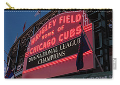 Wrigley Field Marquee Cubs National League Champs 2016 Carry-all Pouch by Steve Gadomski
