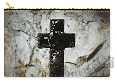Wrought Iron Cross Against Stone Carry-all Pouch