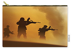 Carry-all Pouch featuring the digital art Ww2 British Soldiers On The Attack by John Wills