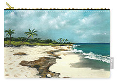 Carry-all Pouch featuring the painting Xcaret - Mexico - Beach by Anastasiya Malakhova