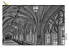 Carry-all Pouch featuring the photograph Yale University Cloister Hallway II Bw by Susan Candelario