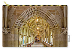 Carry-all Pouch featuring the photograph Yale University Cloister Hallway by Susan Candelario