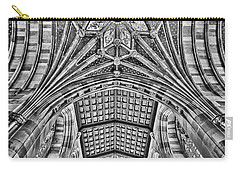 Carry-all Pouch featuring the photograph Yale University Sterling Library Bw by Susan Candelario