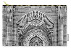 Carry-all Pouch featuring the photograph Yale University Sterling Memorial Library Bw  by Susan Candelario